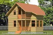 Фото: деревянный дом 6х6 с балконом и крыльцом