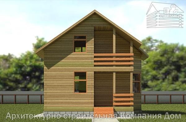 Фото 4: проект деревянный дом 6х6 с балконом и крыльцом