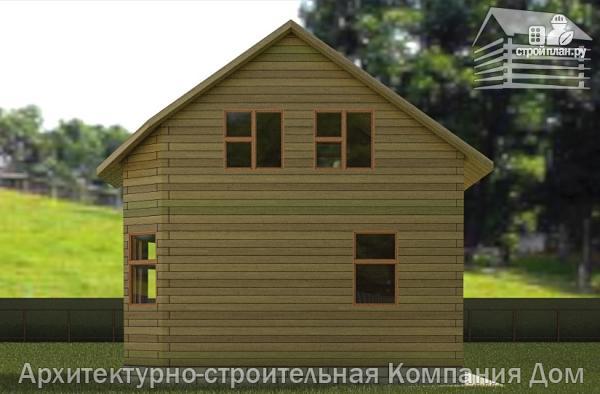 Фото 6: проект деревянный дом 6х6 с балконом и крыльцом
