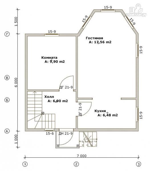Фото 2: проект дом из бруса 6х7 с эркером в гостиной