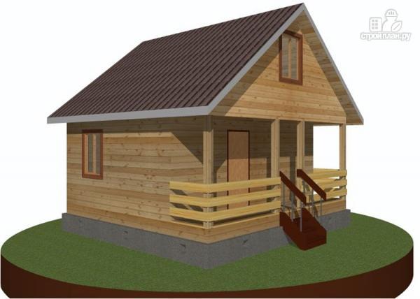 Фото 8: проект дачный дом 6х6 с террасой