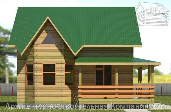 Фото 7: проект дом из бревна 7х8 с угловой террасой