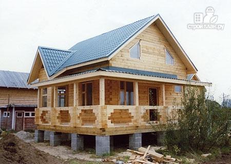 Фото 8: проект дом из бревна 7х8 с угловой террасой