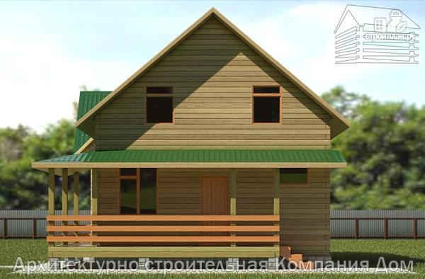Фото 4: проект дом из бревна 7х8 с угловой террасой