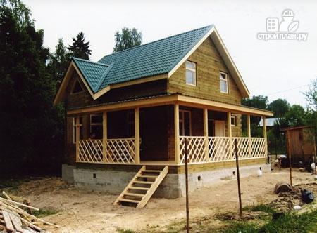 Фото 11: проект дом из бревна 7х8 с угловой террасой