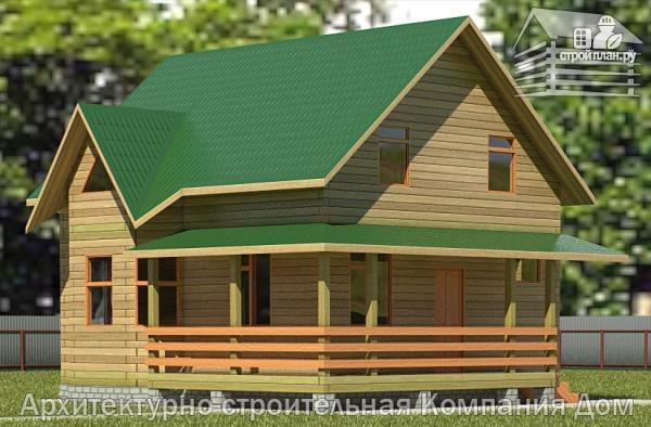 Фото: проект дом из бревна 7х8 с угловой террасой