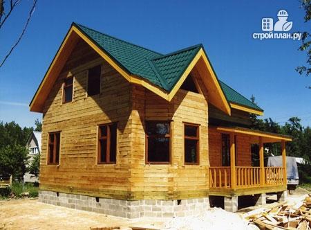 Фото 10: проект дом из бревна 7х8 с угловой террасой