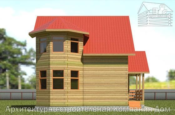 Фото 7: проект дом из бруса 7х8 с эркером в гостиной и крыльцом