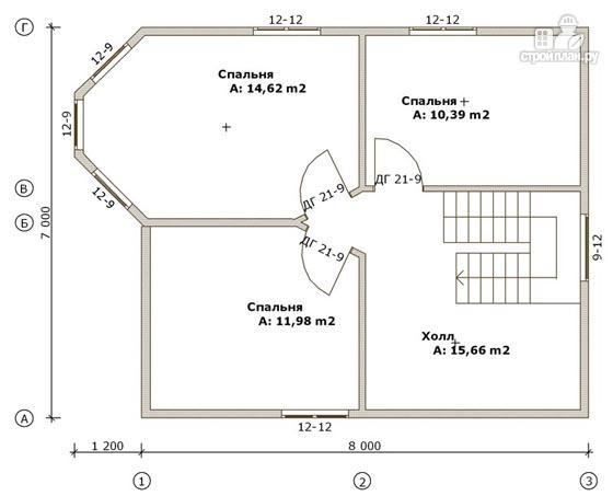 Фото 3: проект дом из бруса 7х8 с эркером в гостиной и крыльцом