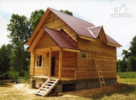 Фото 9: проект дом из бруса 7х8 с эркером в гостиной и крыльцом