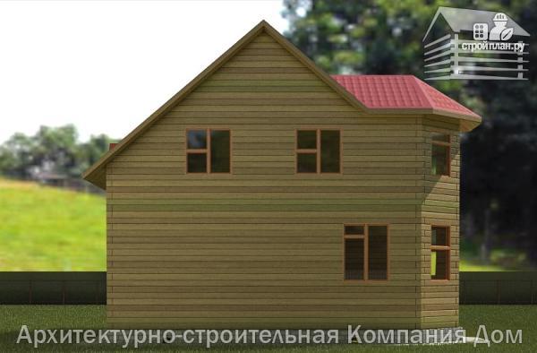 Фото 6: проект дом из бруса 7х8 с эркером в гостиной и крыльцом