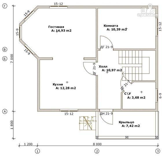 Фото 2: проект дом из бруса 7х8 с эркером в гостиной и крыльцом