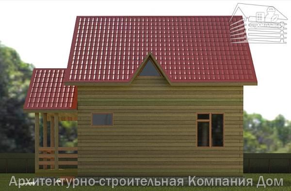 Фото 5: проект дом из бруса 7х8 с эркером в гостиной и крыльцом