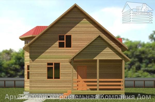 Фото 4: проект дом из бруса 7х8 с эркером в гостиной и крыльцом