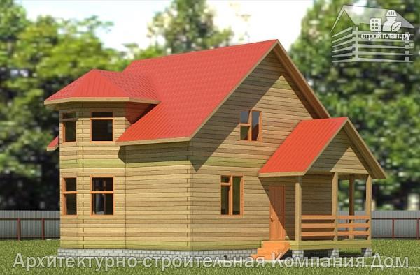 Фото: проект дом из бруса 7х8 с эркером в гостиной и крыльцом