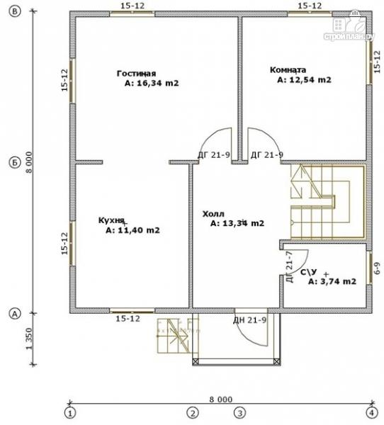 Фото 2: проект дом из бруса 8х8 с мансардой