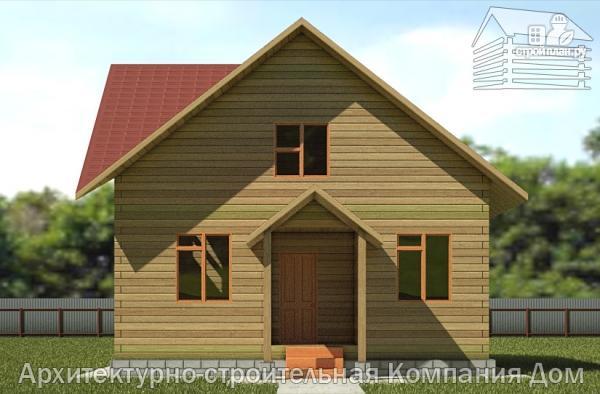 Фото 4: проект деревянный дом 8х8 с крыльцом