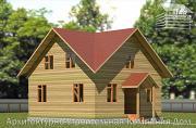Проект деревянный дом 8х8 с крыльцом