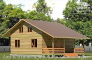 Фото: деревянный дом 8х11 с террасой