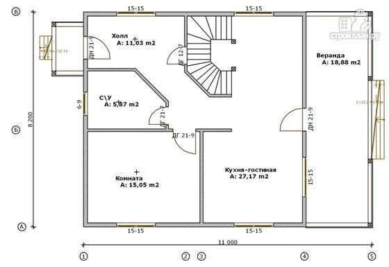 Фото 2: проект деревянный дом 8х11 с террасой