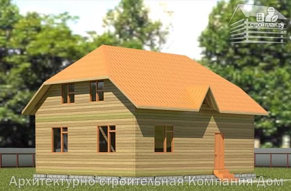 Фото: проект дом из бруса с вальмовой крышей и эркером