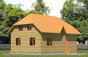 Фото: дом из бруса с вальмовой крышей и эркером
