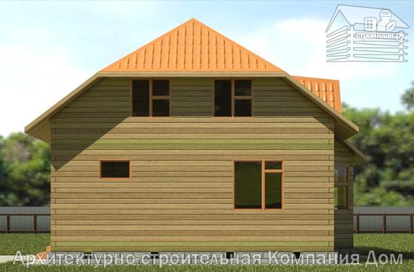 Фото 4: проект дом из бруса с вальмовой крышей и эркером