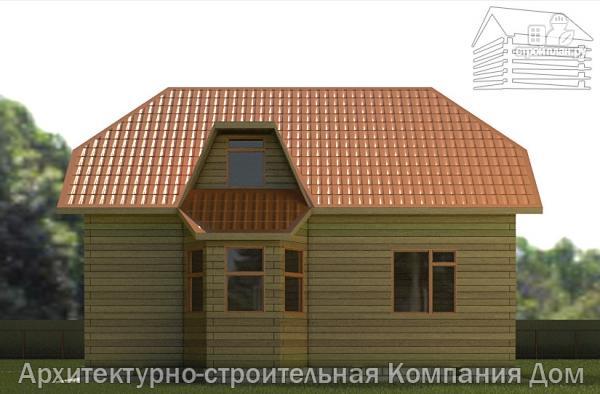 Фото 5: проект дом из бруса с вальмовой крышей и эркером