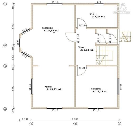 Фото 2: проект дом из бруса с вальмовой крышей и эркером