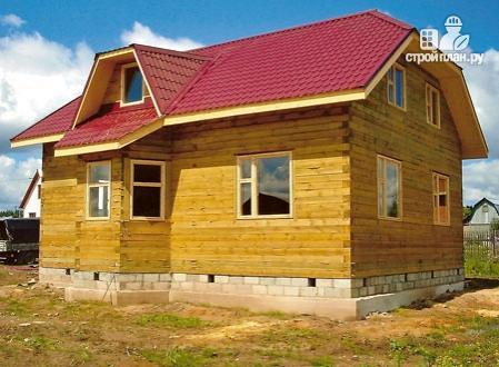 Фото 8: проект дом из бруса с вальмовой крышей и эркером