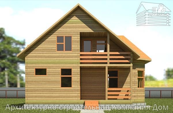 Фото 7: проект дом из бруса 8х8,5 с террасой, балконом и эркером