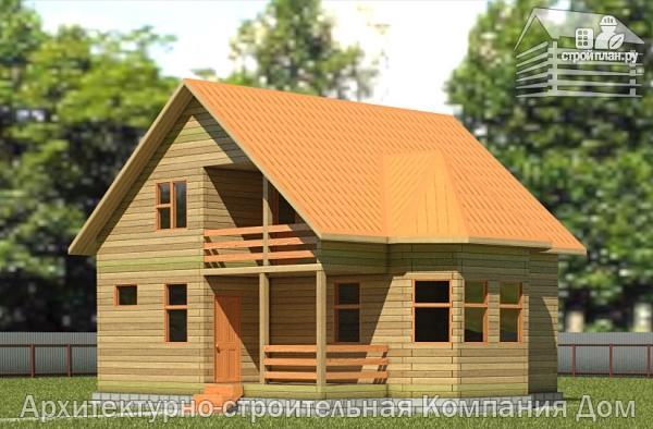 Фото: проект дом из бруса 8х8,5 с террасой, балконом и эркером