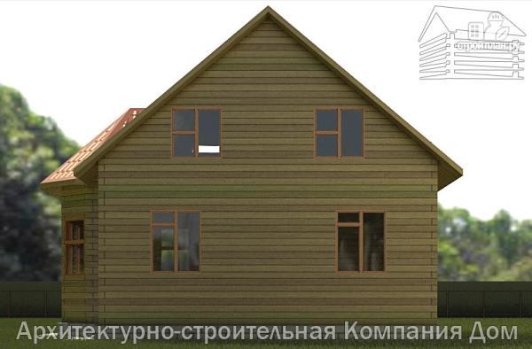 Фото 5: проект дом из бруса 8х8,5 с террасой, балконом и эркером