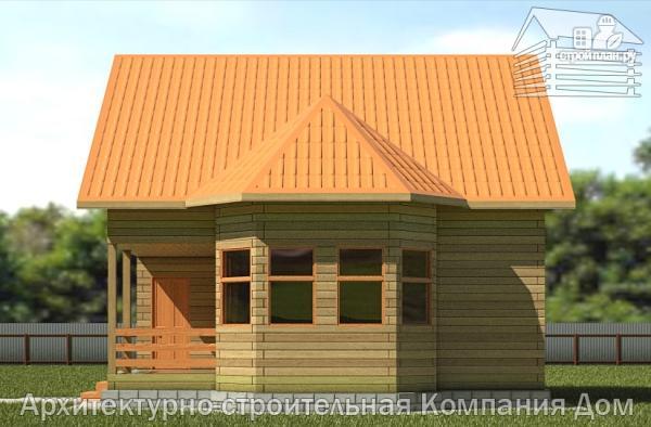 Фото 4: проект дом из бруса 8х8,5 с террасой, балконом и эркером