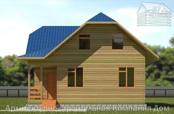 Фото 4: проект дом из бруса 8,5х8,5 с крыльцом и верандой