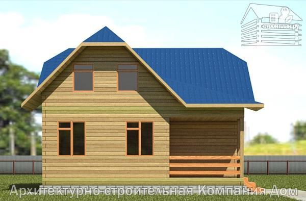 Фото 7: проект дом из бруса 8,5х8,5 с крыльцом и верандой