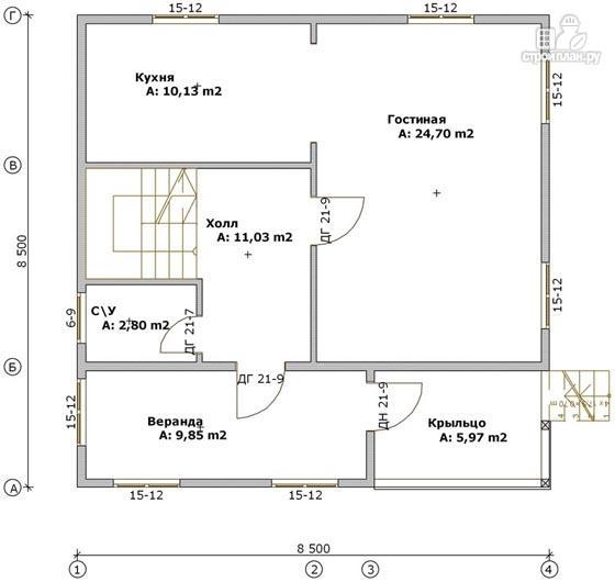 Фото 2: проект дом из бруса 8,5х8,5 с крыльцом и верандой