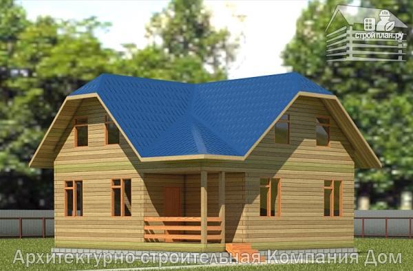 Фото: проект дом из бруса 8,5х8,5 с крыльцом и верандой