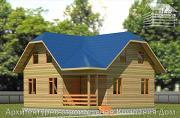 Фото: дом из бруса 8,5х8,5 с крыльцом и верандой