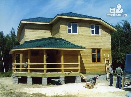 Фото 8: проект дом из бруса 9х9 с большой террасой, для углового участка