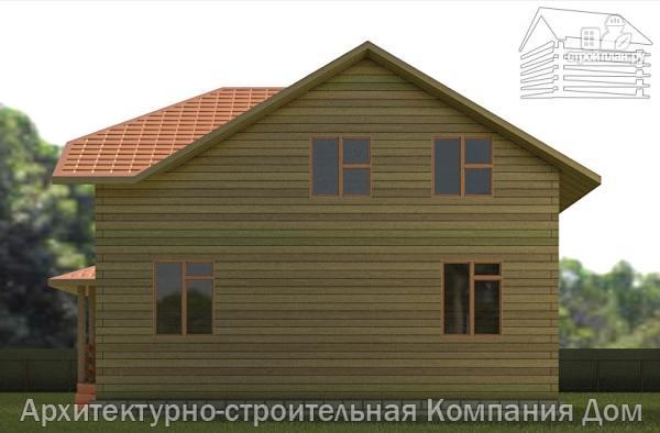 Фото 5: проект дом из бруса 9х9 с большой террасой, для углового участка