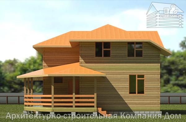Фото 4: проект дом из бруса 9х9 с большой террасой, для углового участка