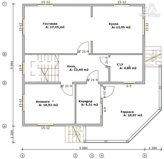 Фото 2: проект дом из бруса 9х9 с большой террасой, для углового участка