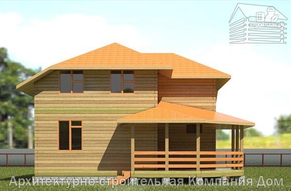 Фото 7: проект дом из бруса 9х9 с большой террасой, для углового участка