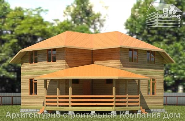 Фото: проект дом из бруса 9х9 с большой террасой, для углового участка