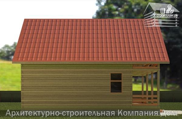 Фото 6: проект дом из бруса 8х10 с балконом и террасой
