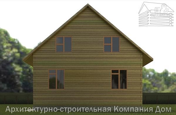 Фото 5: проект дом из бруса 8х10 с балконом и террасой
