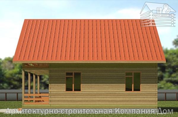 Фото 4: проект дом из бруса 8х10 с балконом и террасой