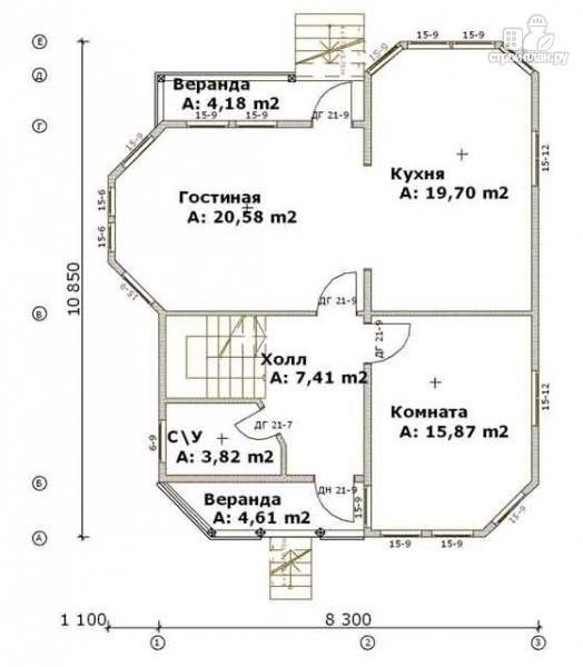 Фото 2: проект брусовой дом с лоджией и эркером