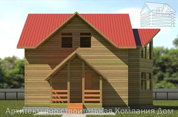 Фото 4: проект деревянный дом с крыльцом и эркером